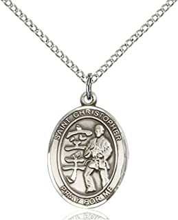 18-Inch Rhodium Plated Necklace with 6mm Garnet Birthstone Beads and Sterling Silver Saint Christopher//Track/&Field-Women Charm.