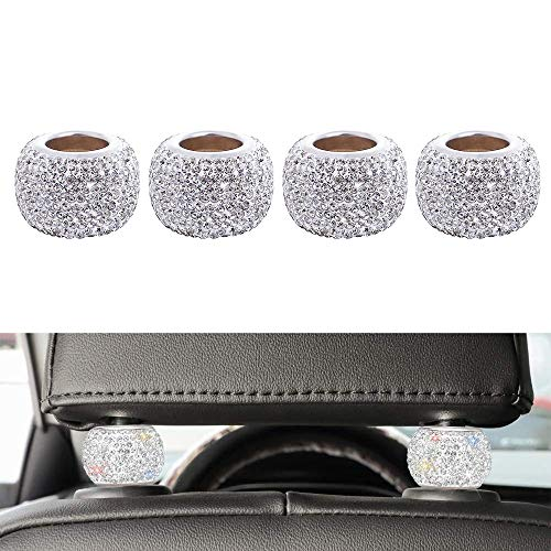 LEIWOOR 4 Pack Car Headrest Collars,Car Head Rest Collars Rings Decor Bling Crystal Diamond for Car SUV Truck Interior Decoration (White)
