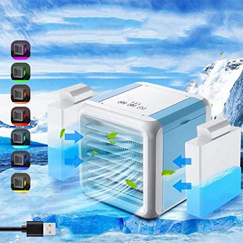 Escritorio del ventilador del refrigerador de aire mini portátil de aire acondicionado de 7 colores de luz del acondicionador de aire purificador del humectador del USB con dos tanques de agua en el h