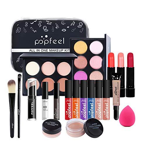 FantasyDay 20St Multifunktions Exquisite Kosmetik Geschenkset Make-up Schmink Kit für Gesicht, Augen und Lippen - Weihnachten Makeup Set mit Abdeckcreme Lidschatten Lippenstift Lipgloss Schminktasche