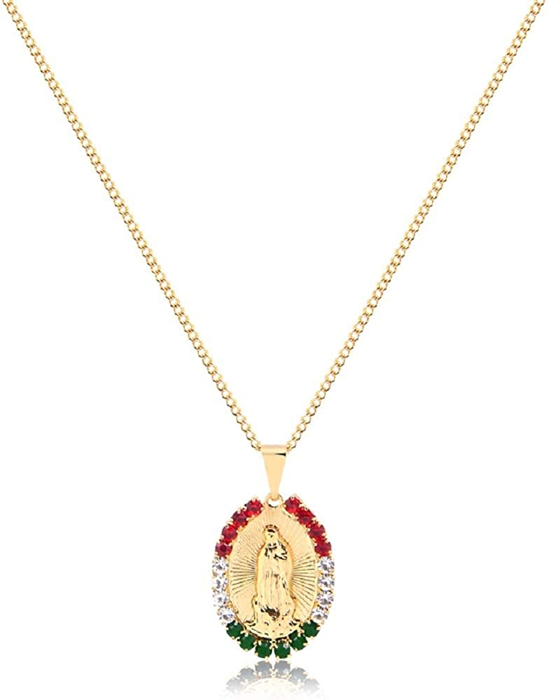 AMA 18K Gold-Plated Guadalupe Pendant Choker with Swarovski - 18-Inch Adjustable Golden Chain with Red, Green, White Crystal-Encrusted Virgin Mary Piece - Hypoallergenic Religious Jewelry for Women