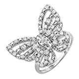 Dazzlingrock Collection 0.70 Carat (ctw) Round Diamond Ladies Butterfly Cocktail Right Hand Ring 3/4 CT, 10K White Gold, Size 7