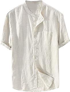 Mens Linen Cotton Button Henley T Shirt Short Sleeve Casual Baggy Grandad Tee Lightweight Collarless Shirts Summer Lounge Top