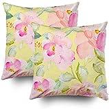 Art Funda de almohada, patrón de flores repetidas con flores y hojas rosas y amarillas, juego de 2 fundas de almohada, fundas de almohada para decoración del hogar, fundas de almohada con cremallera