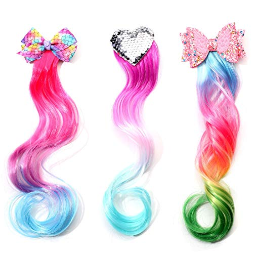 12 Inch Curly Ombre Hair Extensions with Clips for Girls Fashion Accessories Colored Unicorn Mermaid Fake Hair Easter Gifts 3 Pack