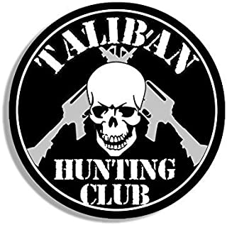 GHaynes Distributing Round TALIBAN Hunting Club Sticker Decal (skull ar-15 army military gun) Size: 4 x 4 inch