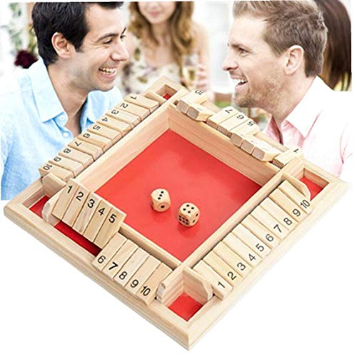 xuew 1set 4-Way Shut The Box Würfelspiel 4 Sided Großes Holzbrettspiel Holz-Spielzeug-Smart-Spiel für das Lernen Zahlen, Strategie und Risikomanagement, Red