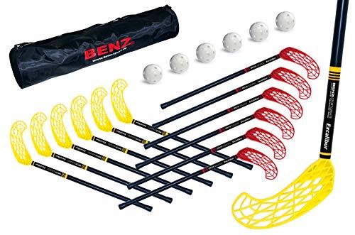 Original Benz Sport® - Floorball Schläger Level 1 Excalibur für Kinder - Unihockey - Floorball Stick - Universell-beidseitige Schaufel (70cm - 12er Set Plus 6X Lochbälle Plus 1x Tasche)
