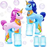 JOYIN 2 Unicorn Bubble Guns with 4 Bubble Solutions (4oz) for Kids, Automatic Bubble Blower, Kids Outdoor Summer Fun, Bubble Party Favors, Birthday Gifts for Girls