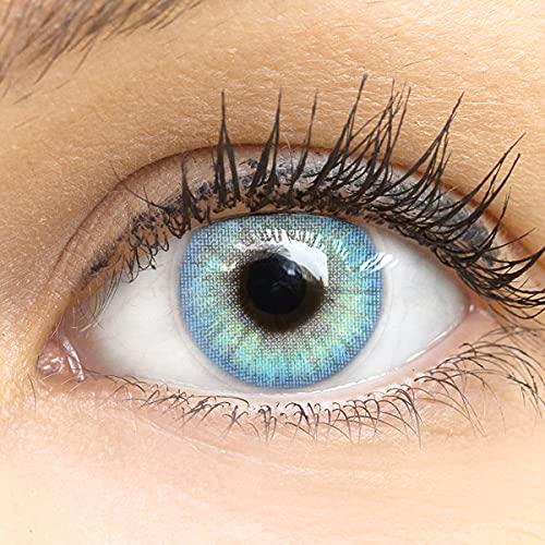 Sehr stark deckende und natürliche blaue Kontaktlinsen SILIKON COMFORT NEUHEIT farbig blau + Behälter von GLAMLENS - 1 Paar (2 Stück) - DIA 14.00 - ohne Stärke 0.00 Dioptrien