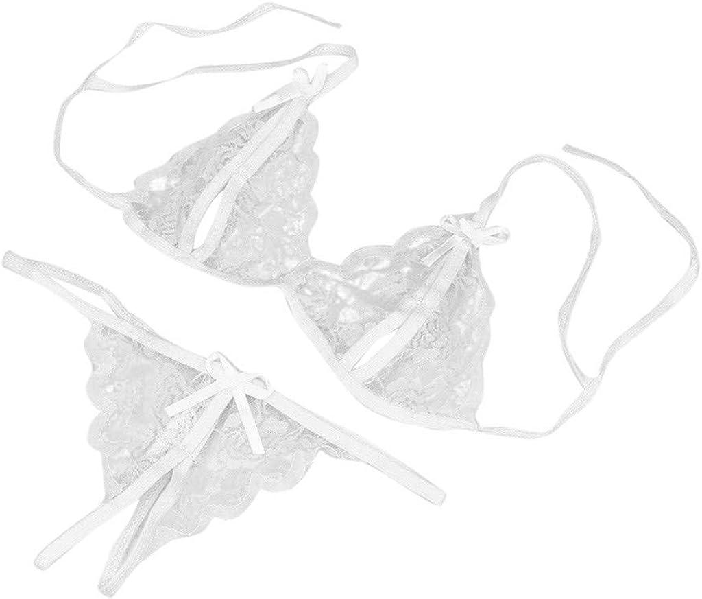 Sexy Lingerie for Women,Women Lingerie Set Lace Bralette Panty Set Pajamas Set Outfits Underwear Bowknot
