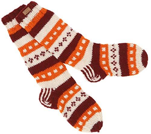 Guru-Shop Handgestrickte Schafwollsocken, Nepal Socken, Herren/Damen, Orange, Wolle, Size:M (37-39), Socken & Beinstulpen Alternative Bekleidung