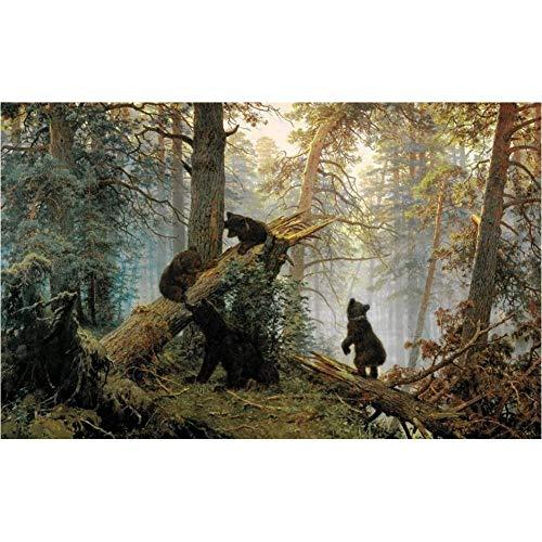 TBWPTS Canvas Schilderij Moderne dieren Posters Prints Wall Art Canvas schilderij Deer Bears In The Woods Pictures Woonkamer muur Home Decor