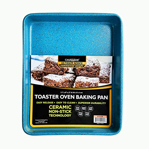 casaWare 11 x 9 x 2-inch Toaster Oven Ultimate Series Commercial Weight Ceramic Non-Stick Coating Baking Pan (Blue Granite)
