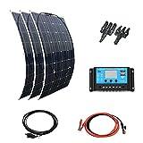 XINPUGUANG panel solar 300W 12V Kit 3pcs 100W 18V Módulo fotovoltaico monocristalino flexible 30A Controlador solar para autocaravana, barco, remolque, automóvil, hogar, 12v Carga de la batería