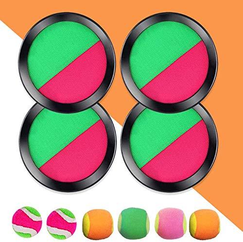 EPCHOO Klettballspiel, Klettball Set mit 4 Klett Ball Paddle und 6 Klettball Klettballspiel für Kinder wurf- und Fangspiel Klettball für Party, Garten, Innen und Außen (Grün)
