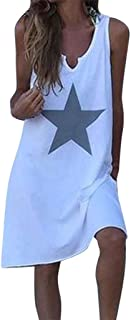 Gopeak 🍎 Women Cotton Loose Dress Plus Size T Shirts Star Printed Casual Tank Tops V-Neck Sleeveless Blouse