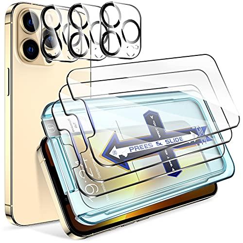 LK Protector de Pantalla Compatible con iPhone 13 Pro MAX 6.7 Pulgada,3 Pack Cristal Templado y 3 Pack Protector de Lente de Camara, Doble Proteccion, Kit de Instalacion Incluido 🔥