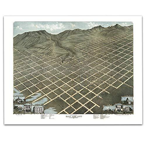 Salt Lake City Utah Vintage Map Circa 1870-11 x 14 Unframed Print - Great Housewarming Gift. Utah Themed Office Decor. Great Gift under $15