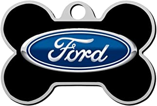 KHKHBKS Zinc-Alloy Custom 3D Print Ford Motor Company Pet ID Tags Personalized Front and Back Bone Shape Dog Tags & Cat Tags