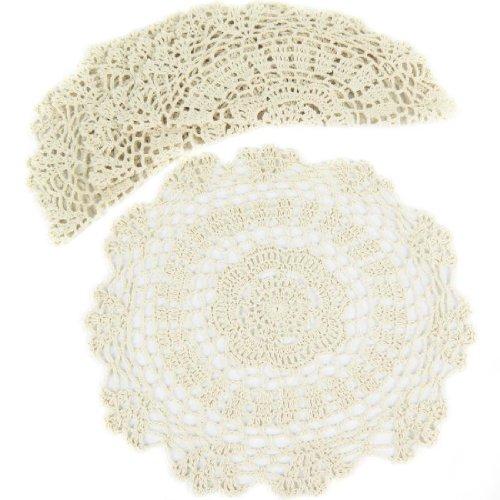 kilofly Tapetes de ganchillo y encaje de algodón con motivo floral, 4unidades, algodón, beige, 12 inch beige