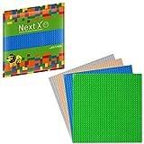 NextX 4 Piani Base Compatibili con Giochi di Costruzioni Classici - Piastre Doppio Spessore - Materiale Plastica ABS Non Tossico - Dimensione 25 x 25 - Verde/Blu/Grigio/Sabbia