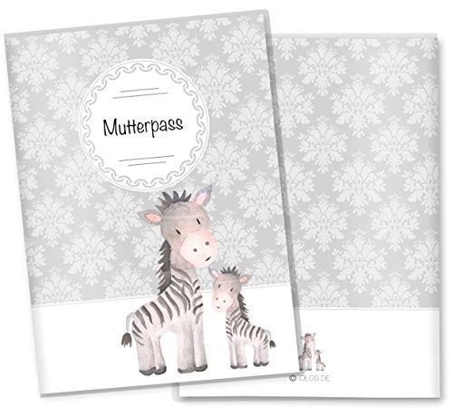 Mutterpasshülle 3-teilig Motiv Black & White Mutterpass Hülle Schwangerschaft Geschenkidee (Mutterpass ohne Personalisierung, Zebra)