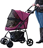 Pet Gear No-Zip Happy Trails Lite Pet Stroller for Cats/Dogs, Zipperless Entry, Easy Fold with Removable Liner, Storage Basket + Cup Holder, Boysenberry