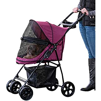 Pet Gear No-Zip Happy Trails Lite Pet Stroller for Cats/Dogs, Zipperless Entry, Easy Fold with Removable Liner, Storage Basket + Cup Holderr, Boysenberry 16