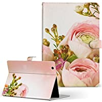 igcase RM-AT703 カンタンPad3 ドンキホーテ タブレット 手帳型 タブレットケース タブレットカバー カバー レザー ケース 手帳タイプ フリップ ダイアリー 二つ折り 直接貼りつけタイプ 005354 フラワー 写真・風景 花 フラワー ピンク