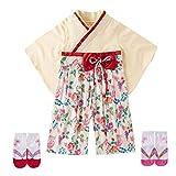 Feidoog ベビー 袴ロンパース 女の子 着物 フォーマル 蝶結び リボン ひな祭り 靴下付き 花柄 ベージュ 80