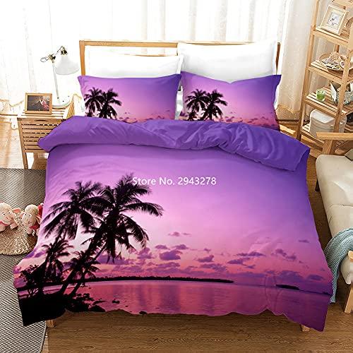 3D Seaside Beach Juego de Ropa de Cama Funda de Edredón Sand Palm Trees Sunset Funda de Edredón Microfibra Azul Juego de Edredón Queen King Twin Tamaño Completo Mujeres Boy Kid Home Double 3 Piez