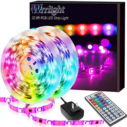 Led Strip Lights 32.8FT/10M, Color Changing Light Strip with 44-Keys Remote, 600LEDs Bright RGB LED Lights, DIY Color Options Tape Lights, Power Supply Led Lights for Bedroom Home Kitchen Decoration…