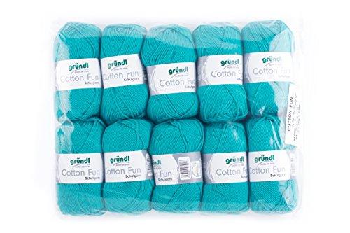Gründl Cotton Fun Wolle, Baumwolle, türkisblau, 27 x 11 x 7 cm