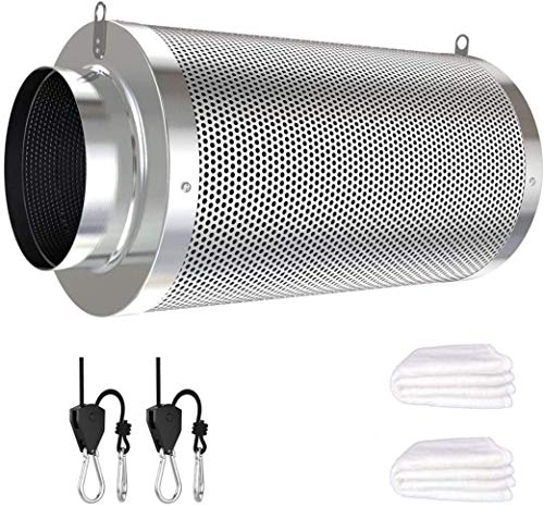 Vanleno 8inch Carbon Filter Odor Control with Australia Virgin Charcoal Two Prefilter 1 Pair Rope Ratchet Included for Inline Duct Fan, Grow Tent, Hydroponics, Odor Scrubber