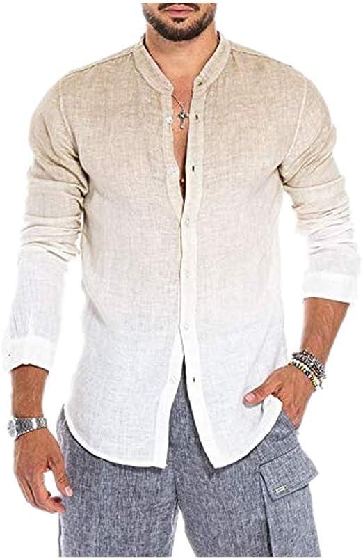 HUAZONG Henley - Camisa de lino para hombre con botones de ...