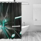 jstel Musik Duschvorhang Schimmelresistent & Polyester-Wasserdicht-182,9x 182,9cm für Home Extra Lang Badezimmer Deko Dusche Bad Vorhänge Liner mit 12Haken