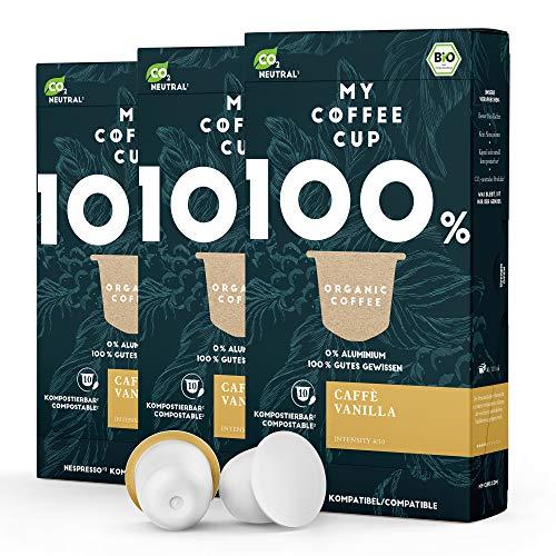 My Coffee Cup – CAFFÈ VANILLA – BIO-KAFFEE 3 PACKUNGEN I 30 Kaffeekapseln für Nespresso®³-Kapselmaschinen I 100% industriell kompostierbare Kaffeekapseln – 0% Alu I Nachhaltige Kaffeekapseln