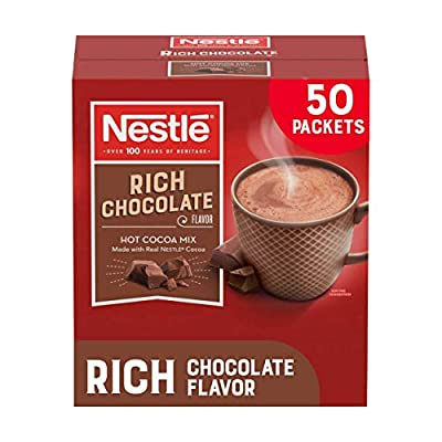 Nestle Hot Chocolate Packets, Hot Cocoa Mix, Rich Chocolate Flavor, Made with Real Cocoa, 50 Count (0.71 Oz each)