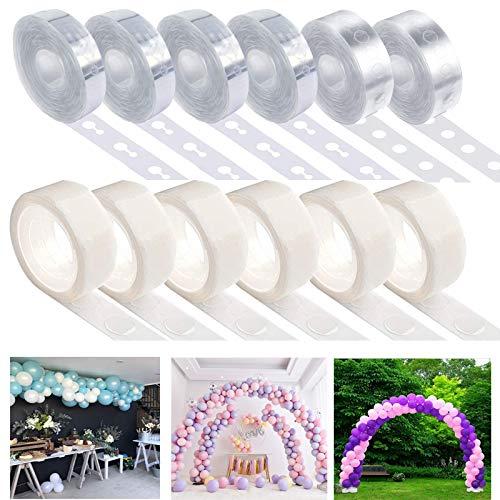 Fexinshern 6 Rollos Arco para Globos, Guirnalda de Arco de Globos Kit con 6 Rollos Pegamento de Punto de Globo para la Fiesta de Navidad Bodas Cumpleaños
