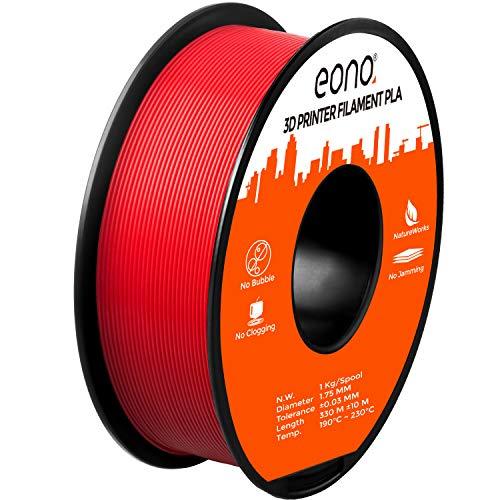 Eono by Amazon, filamento in PLA per stampante 3D, in spire regolari senza grovigli, precisione dimensionale 0,03 mm, 1,75 mm, bobina da 1 kg, colore Rosso