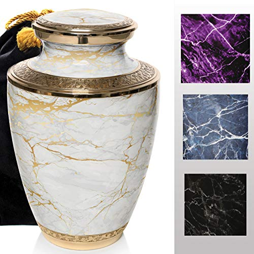 Marble Elegance Cremation Urns for Human Ashes Adult for Funeral, Burial, Columbarium or Home, Cremation Urns for Human Ashes Adult 200 Cubic Inches, Urns for Ashes (White / Gold, Large / Adult)