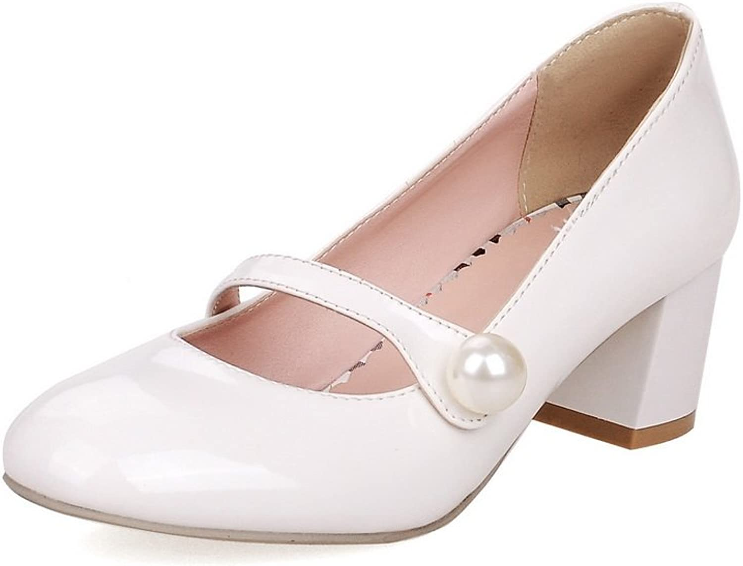 BalaMasa Girls Round Toe Bead Low-Cut Uppers Imitated Leather Pumps-shoes