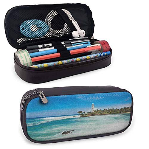 Lighthouse Protective Pouch Tropical Island Lighthouse with Palm Trees Rocks Wavy Seaside Beach Ocean Mesh Pocket, Layers Multiple Zip Pockets8'x3.5'x1.5'Blue White Green