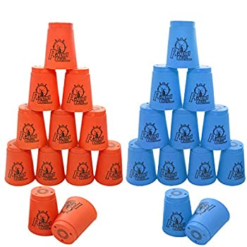 24 Pack Sports Stacking Cups Quick Stack Cups Set Speed Training Game for Travel Party Challenge Competition Blue+Orange
