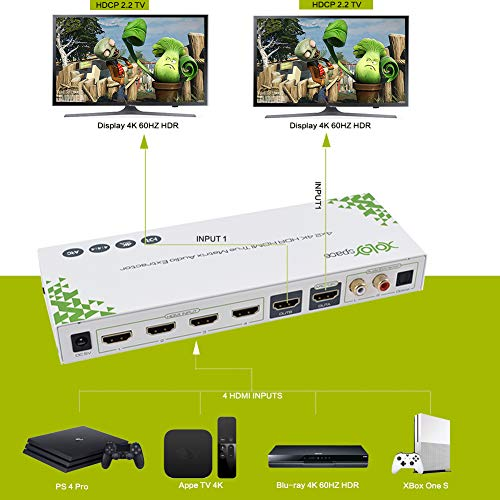 4k 60HZ 4:4:4 8bit and Dolby Vision Compatible with PS 4 Pro SPDIF + Stereo Audio Out Roku 4 Xbox One S Chromecast Ultra XOLORspace 23031A 3x1 4K 60HZ HDR HDMI Switch ARC with Audio Extractor