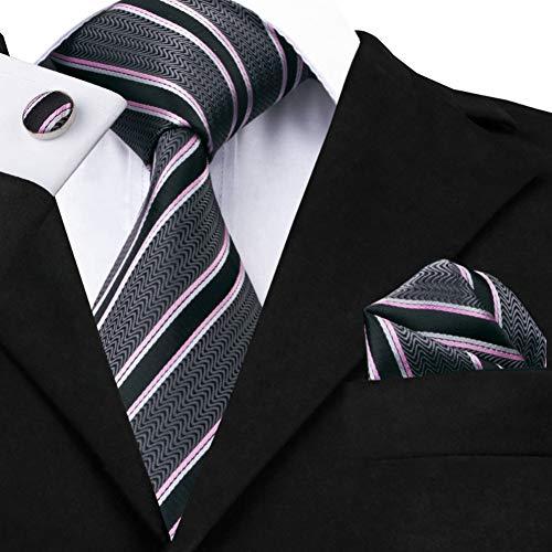 WOXHY Herren Krawatte Sn-226 Grau Rosa Schwarz Gestreifte Krawatte Einstecktuch Manschettenknöpfe Sets Männer 100% Seidenkrawatten Für Männer Formelle Hochzeit Party Bräutigam