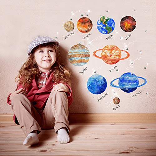 Wandaufkleber Sonnensystem Planeten mond cartoon kinder geschenk schlafzimmer dekorative diy schablonen für wände baby kinderzimmer tür aufkleber