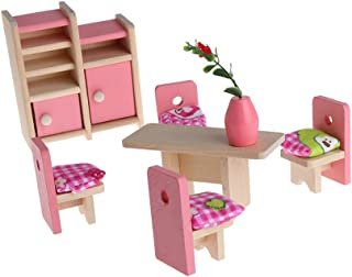 Dabixx Pretend Play Toy, Kid Wooden niture Dolls House Miniature 5 Room Set Doll