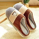 LJXLXY Zapatillas de Mujer de casa Zapatillas de Felpa de algodón Inferior casera de Espesor Inferior Dormitorio hogar cálido Interior del Invierno Suave Masculina Algodón SPA Zapatillas
